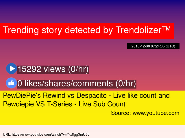 PewDiePie's Rewind vs Despacito - Live like count and Pewdiepie VS T