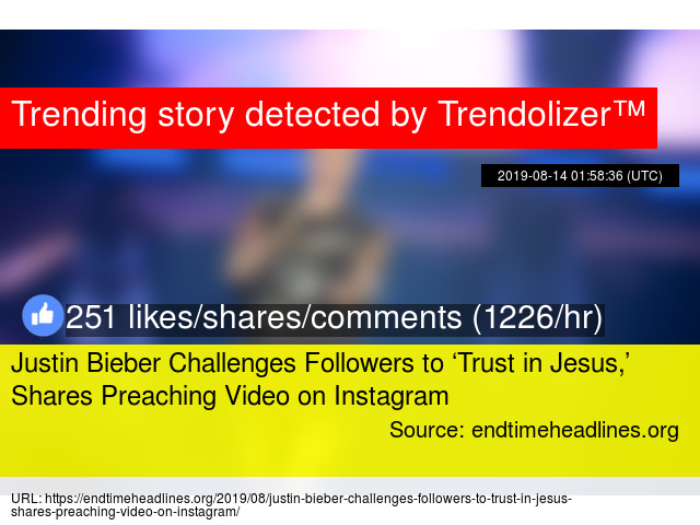 Justin Bieber Challenges Followers to 'Trust in Jesus